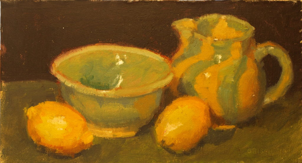 Amy's Pottery with Lemons, Oil on Canvas on Panel, 9 x 16 Inches, by Susan Grisell, $275