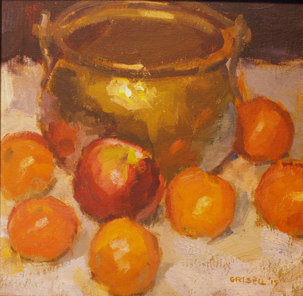 Apple and Oranges, Oil on Canvas on Panel, 12 x 12 Inches, by Susan Grisell, $275