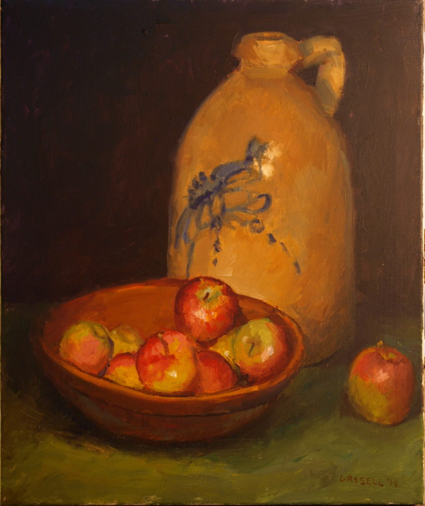 Apples and Crock, Oil on Canvas, 24 x 20 Inches, by Susan Grisell, $750