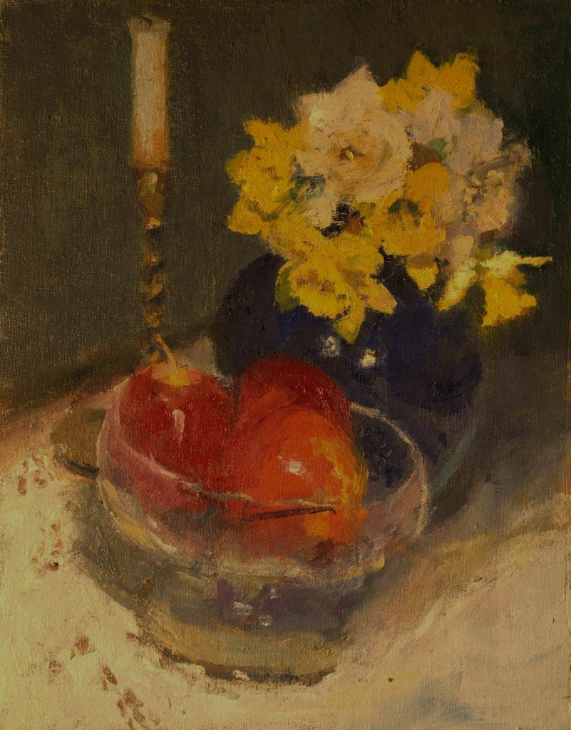 Apples and Daffodils, Oil on Canvas on Panel, 14 x 11 Inches, by Susan Grisell, $300