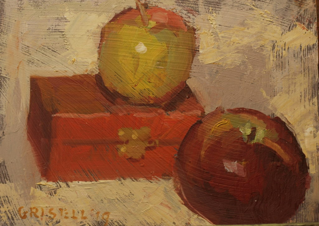 Apples and Red Box, Oil on Panel, 6 x 8 Inches, by Susan Grisell, $100
