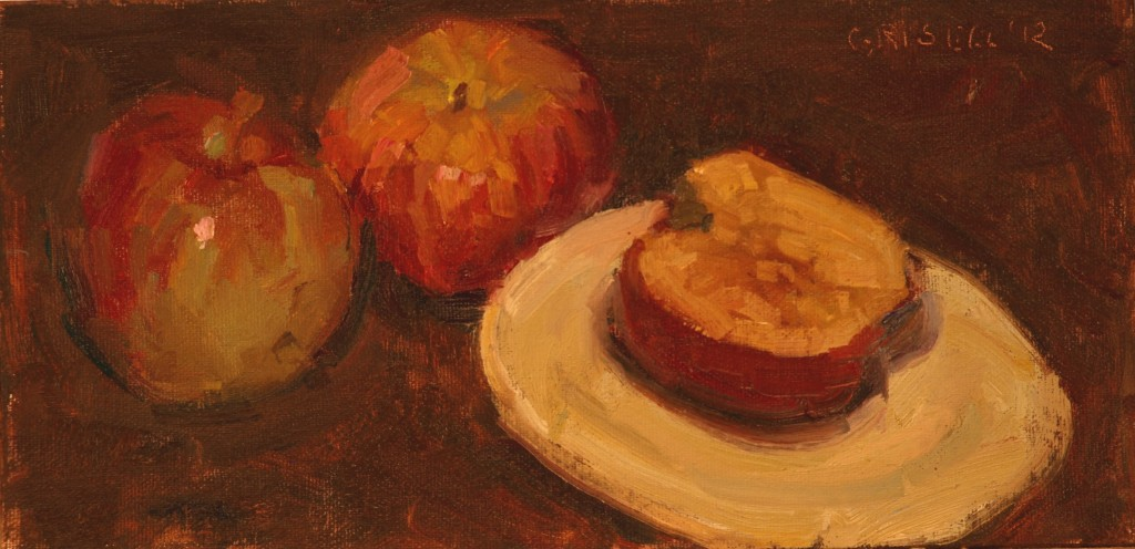 Apple and Sugar, Oil on Canvas on Panel, 6 x 12 Inches, by Susan Grisell, $150