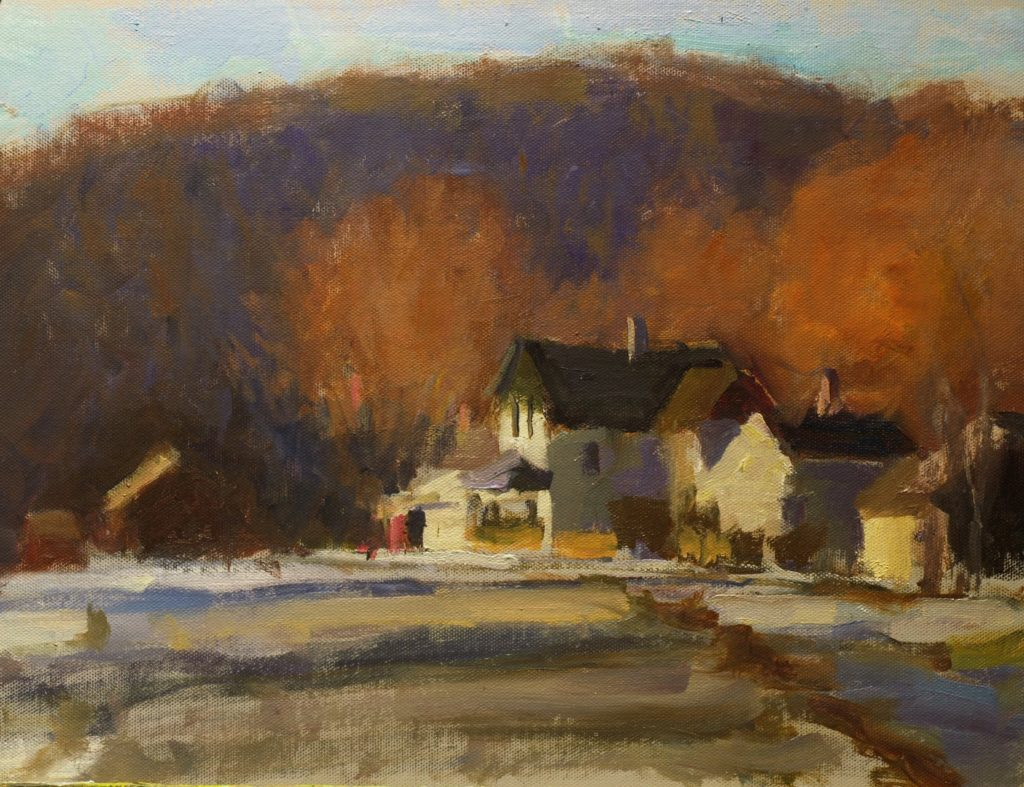 Approaching Kent, Oil on Canvas on Panel, 12 x 16 Inches, by Susan Grisell, $325