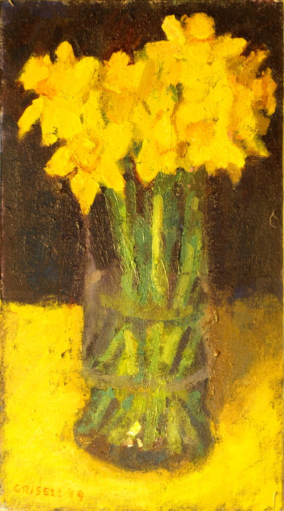 April Flowers, Oil on Canvas on Panel, 16 x 9 Inches, by Susan Grisell, $275