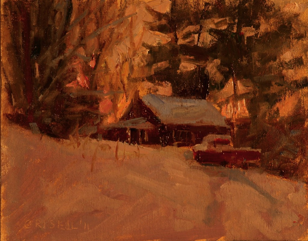 Artist's House - Sunset, Oil on Canvas on Panel, 8 x 10 Inches, by Susan Grisell, $150