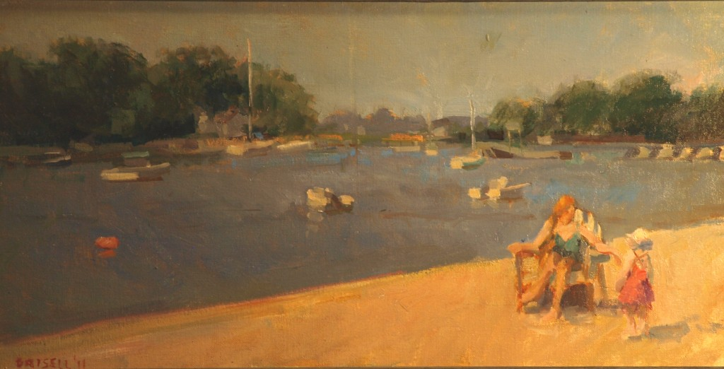 At the Beach, Oil on Canvas on Panel, 12 x 24 Inches, by Susan Grisell, $450