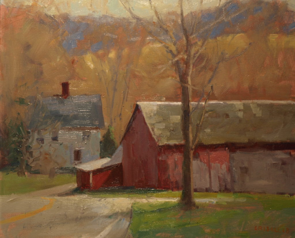 Barn and Farmhouse, Oil on Canvas, 20 x 24 Inches, by Susan Grisell, $750