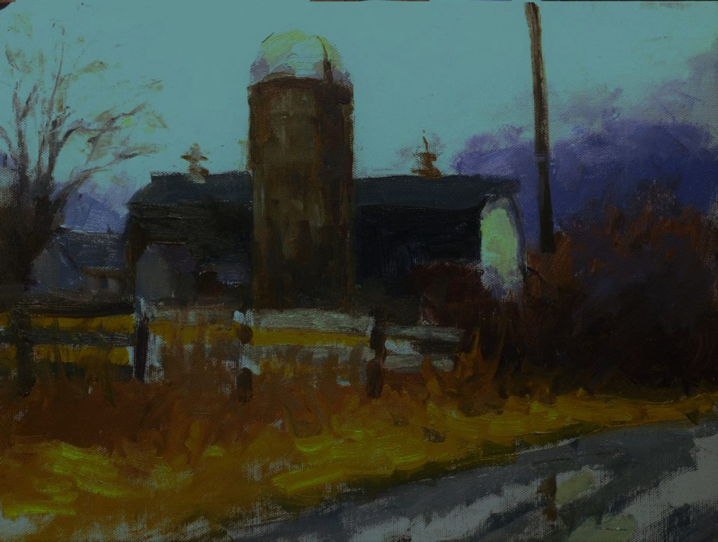 Barn and Fog, Oil on Canvas on Panel, 12 x 16 Inches, by Susan Grisell, $325