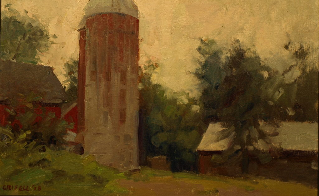 Barn at Hunt's Hill, Oil on Canvas on Panel, 12 x 18 Inches, by Susan Grisell, $300
