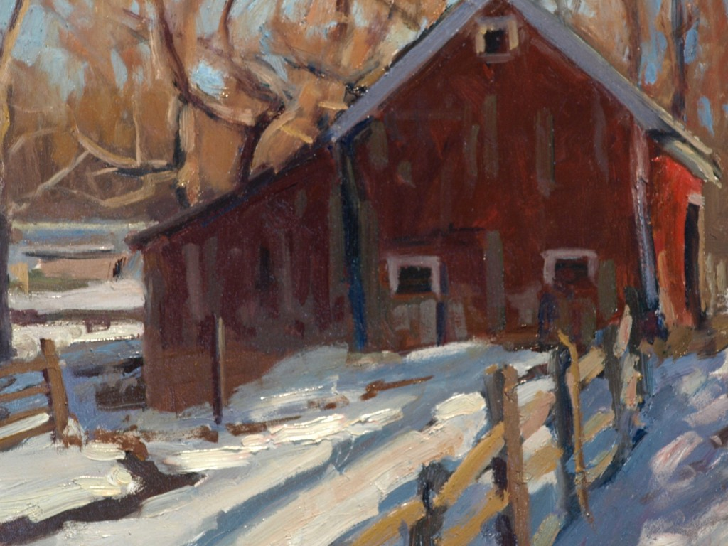 Barn -- February, Oil on Canvas on Panel, 12 x 16 Inches, by Susan Grisell, $275