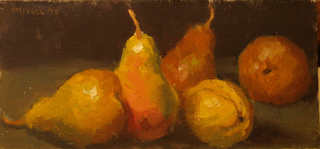 Bartletts and Boscs, Oil on Canvas on Panel, 6 x 12 Inches, by Susan Grisell, $200