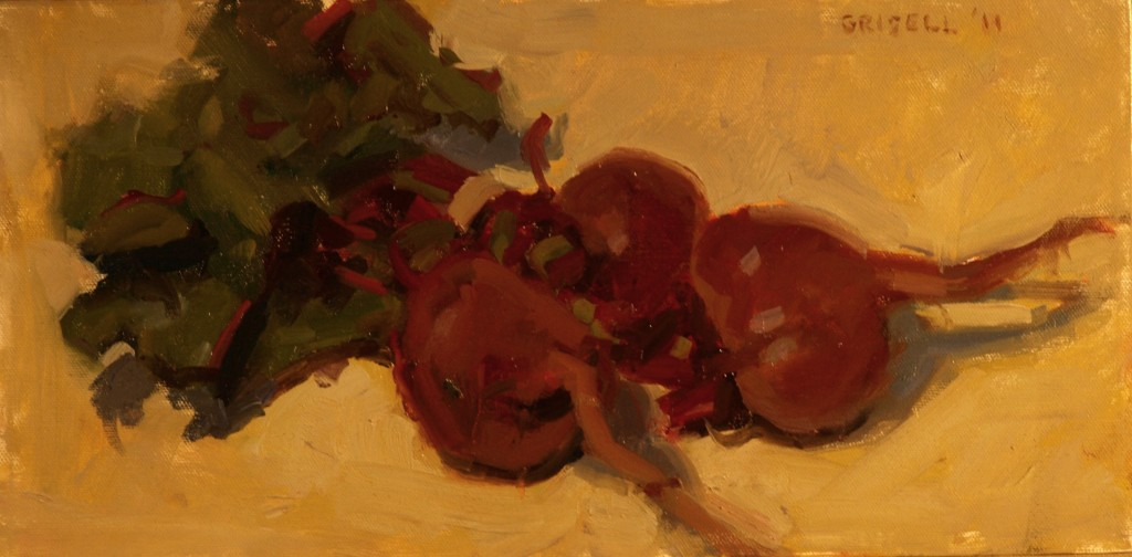 Beets, Oil on Canvas, 8 x 16 Inches, by Susan Grisell, $250