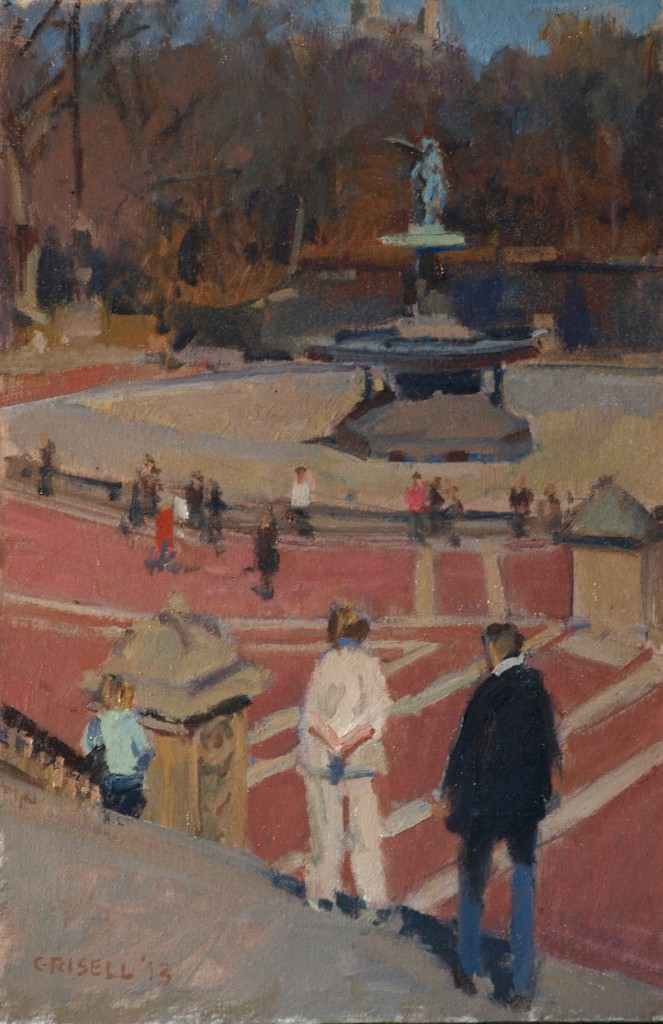 Bethesda Fountain, Oil on Canvas on Panel, 18 x 12 Inches, by Susan Grisell, $275