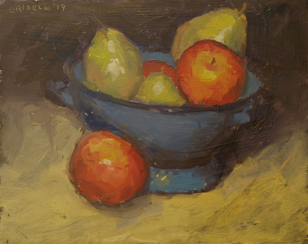 Blue Colander, Oil on Panel, 8 x 10 Inches, by Susan Grisell, $200
