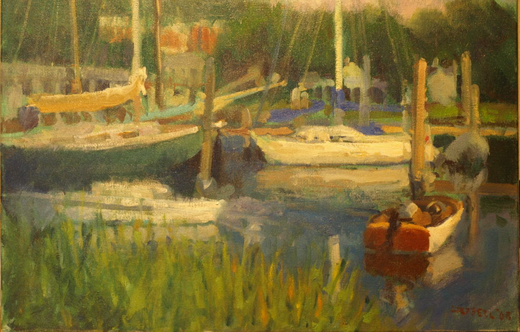 Boats in Mystic, Oil on Canvas, 16 x 20 Inches, by Susan Grisell, $550