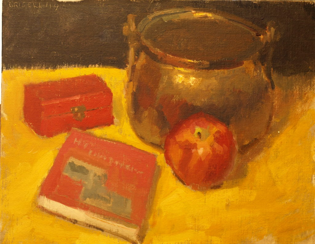 Book, Apple and Copper Pot, Oil on Panel, 11 x 14 Inches, by Susan Grisell, $275