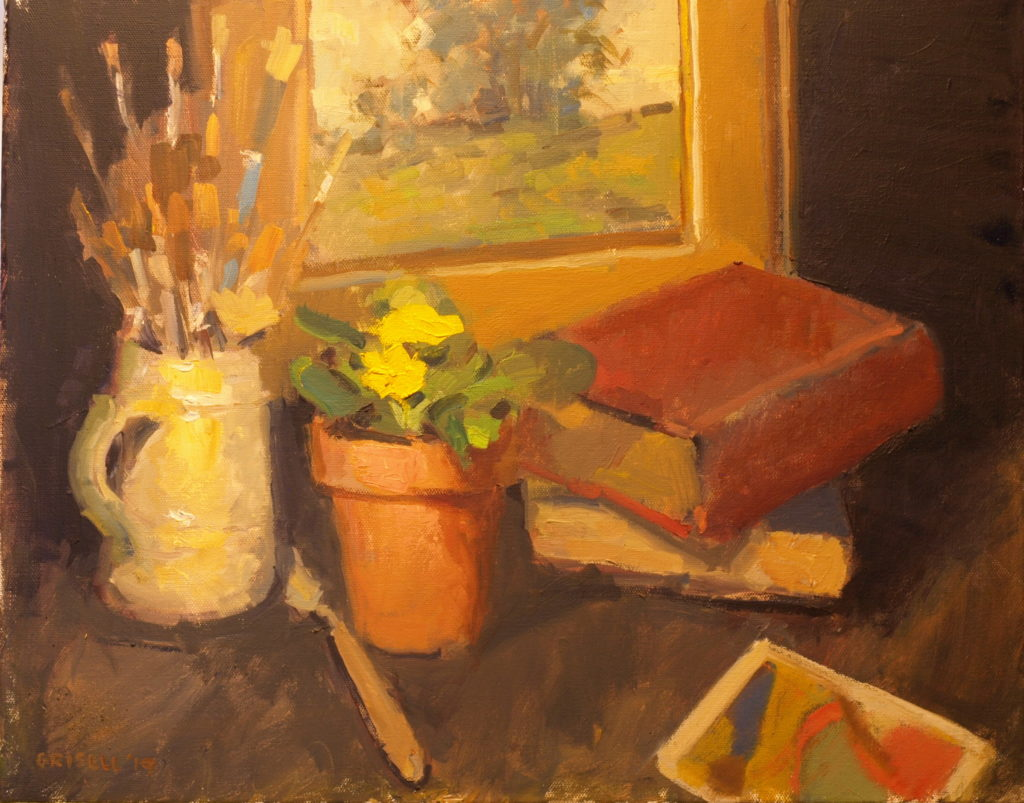 Books and Brushes, Oil on Canvas, 16 x 20 Inches, by Susan Grisell, $550