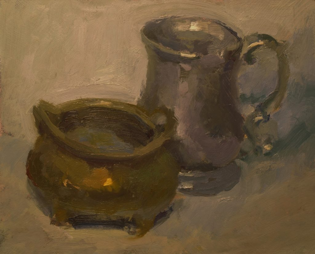 Brass and Pewter, Oil on Panel, 8 x 10 Inches, by Susan Grisell, $200