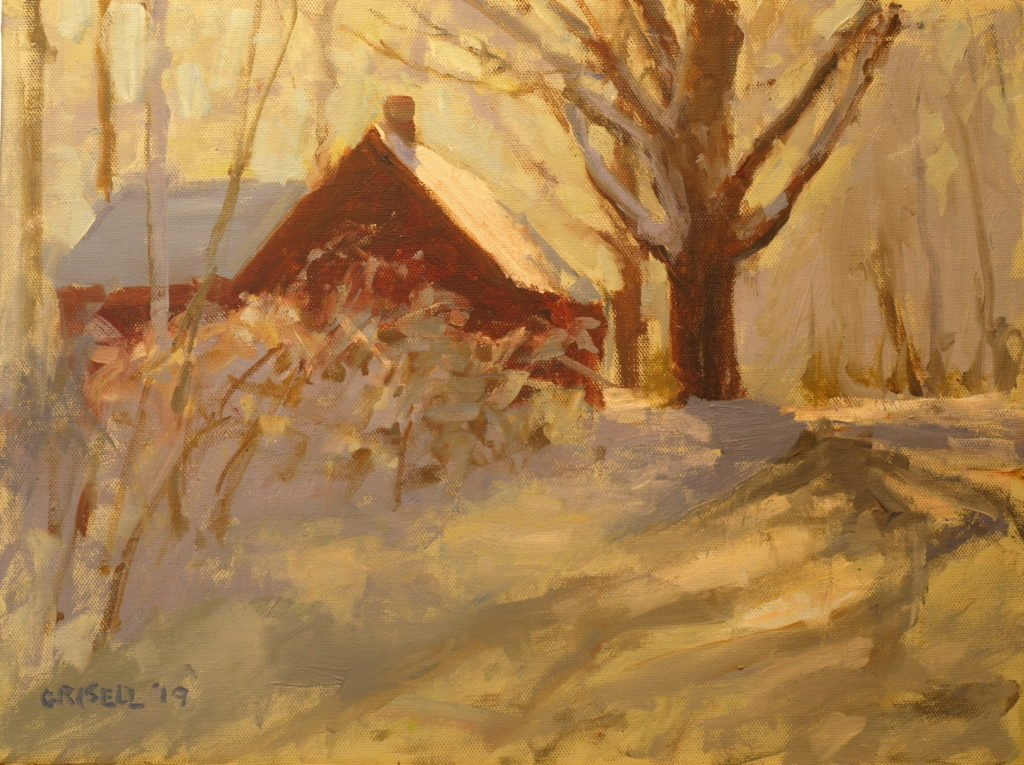 Browns Forge in Snow, Oil on Panel, 12 x 16 Inches, by Susan Grisell, $300