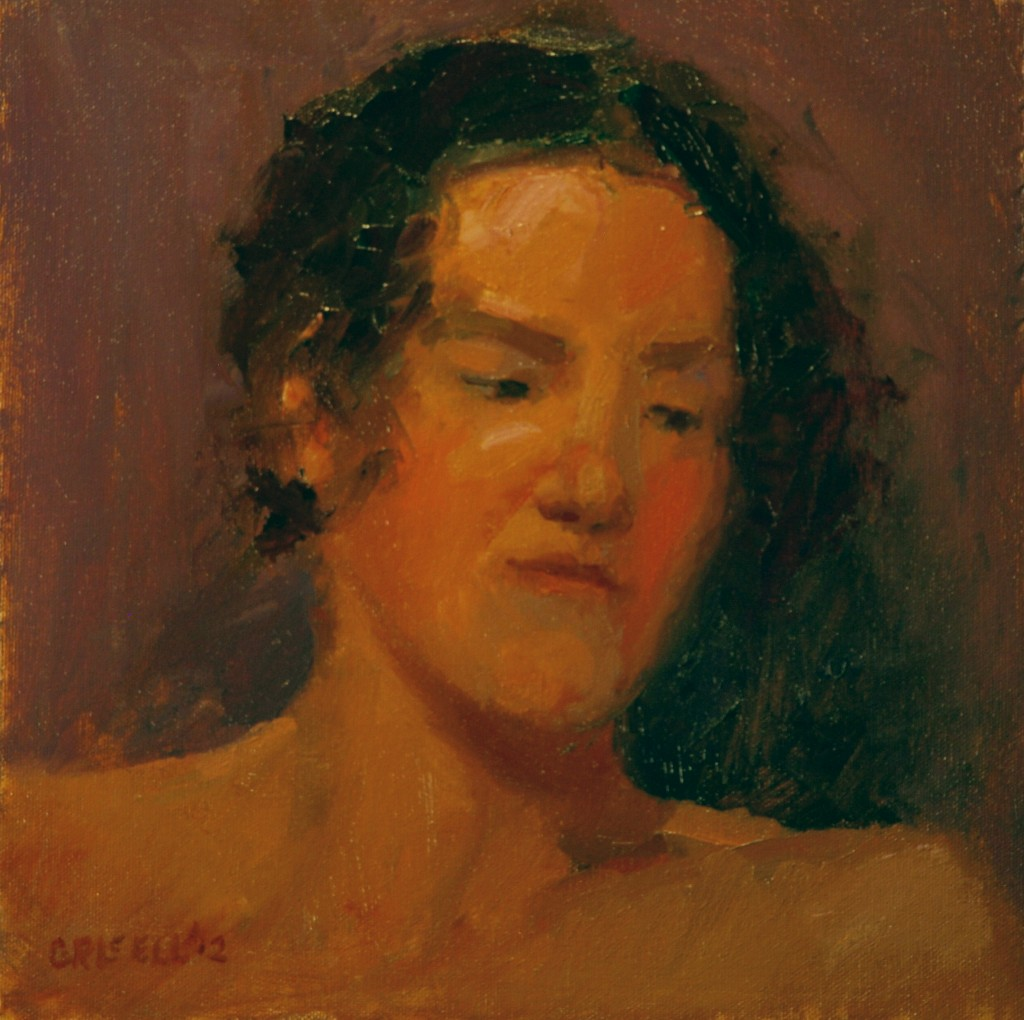 Brunette, Oil on Canvas on Panel, 12 x 12 Inches, by Susan Grisell, $250