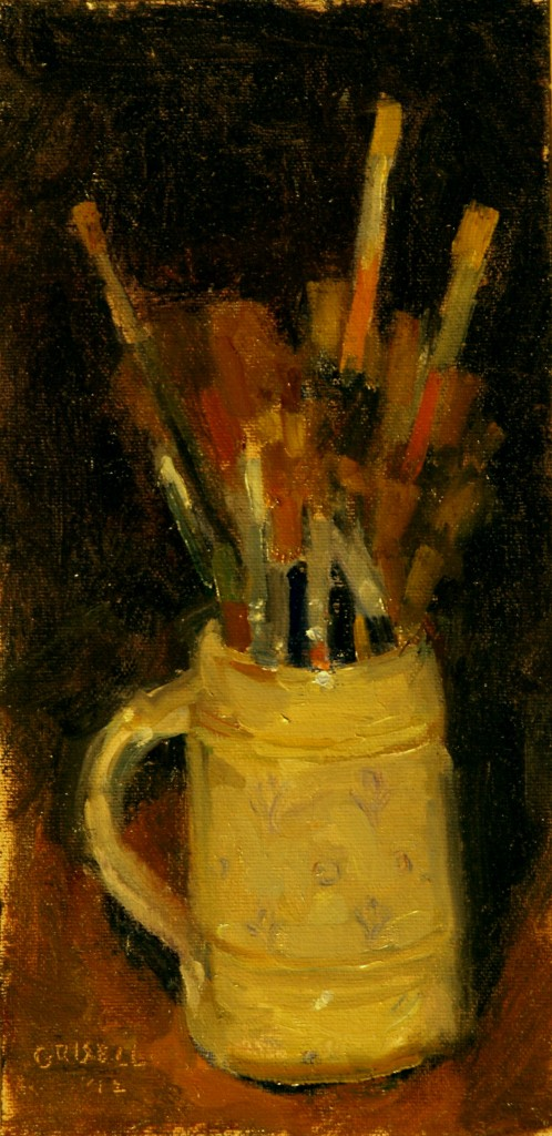 Brushes, Oil on Canvas on Panel, 12 x 6 Inches, by Susan Grisell, $150