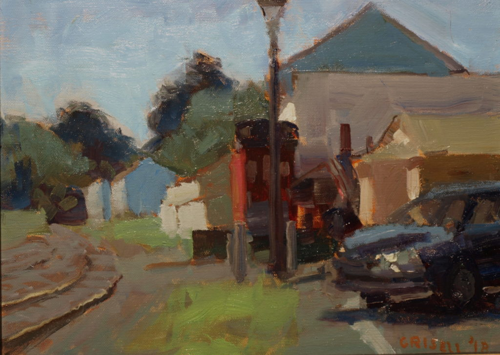 By the Railroad, Oil on Panel, 12 x 16 Inches, by Susan Grisell, $300