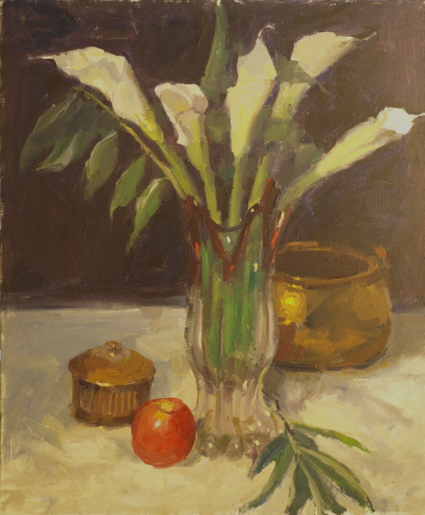 Callas and Apple, Oil on Canvas, 24 x 20 Inches, by Susan Grisell, $750
