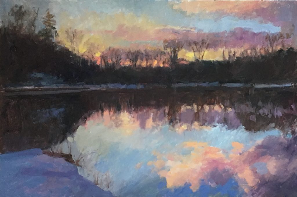 Canal at Sunset, Oil on Canvas, 24 x 36 Inches, by Susan Grisell, $1500