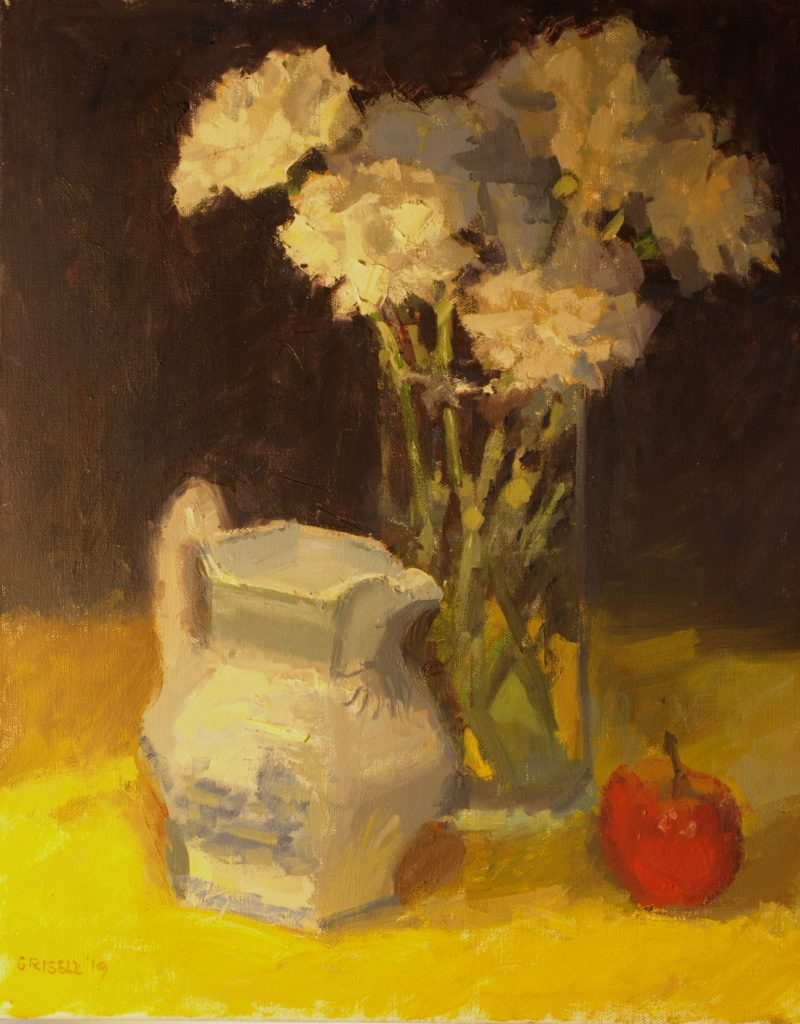 Carnations and Apple, Oil on Canvas, 20 x 16 Inches, by Susan Grisell, $550