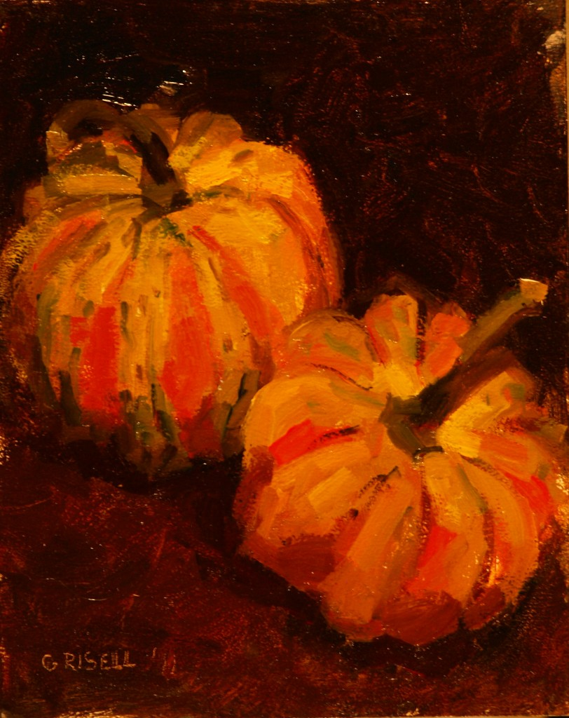 Carnival Squash, Oil on Canvas on Panel, 10 x 8 Inches, by Susan Grisell, $150