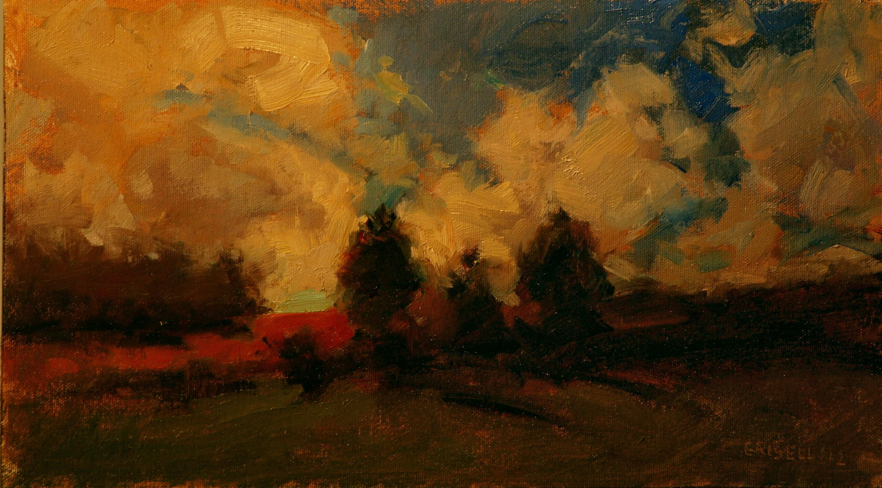 Cedars and Sky, Oil on Canvas on Panel, 9 x 16 Inches, by Susan Grisell, $250