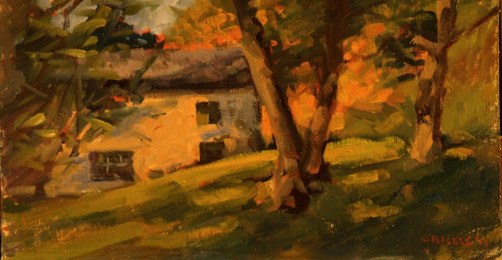 Chestnut Trees, Oil on Canvas on Panel, 9 x 16 Inches, by Susan Grisell, $250