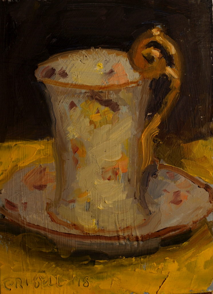 Chocolate Cup, Oil on Panel, 8 x 6 Inches, by Susan Grisell, $125