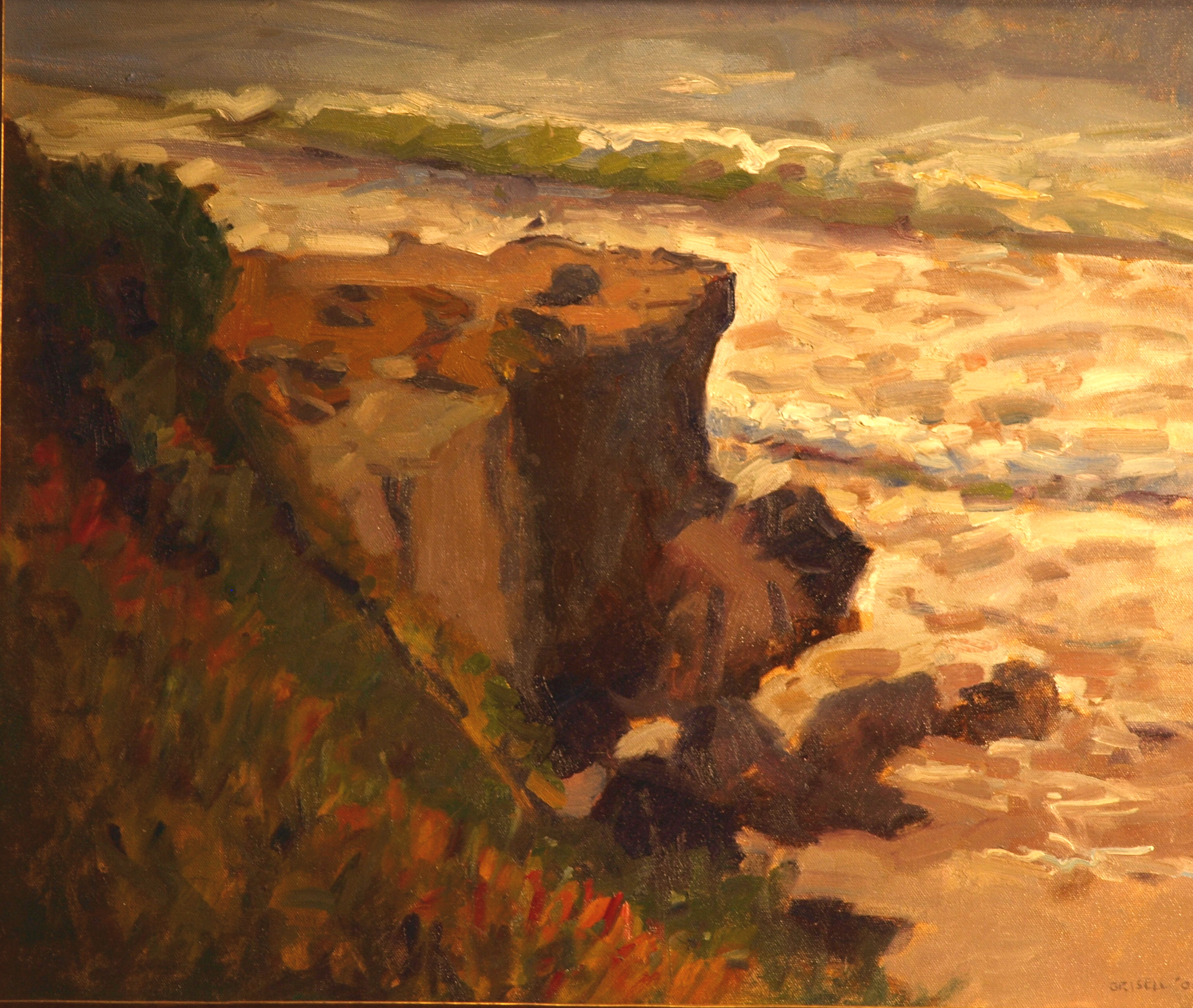 Cliff - Santa Cruz, Oil on Canvas, 20 x 24 Inches, by Susan Grisell, $650