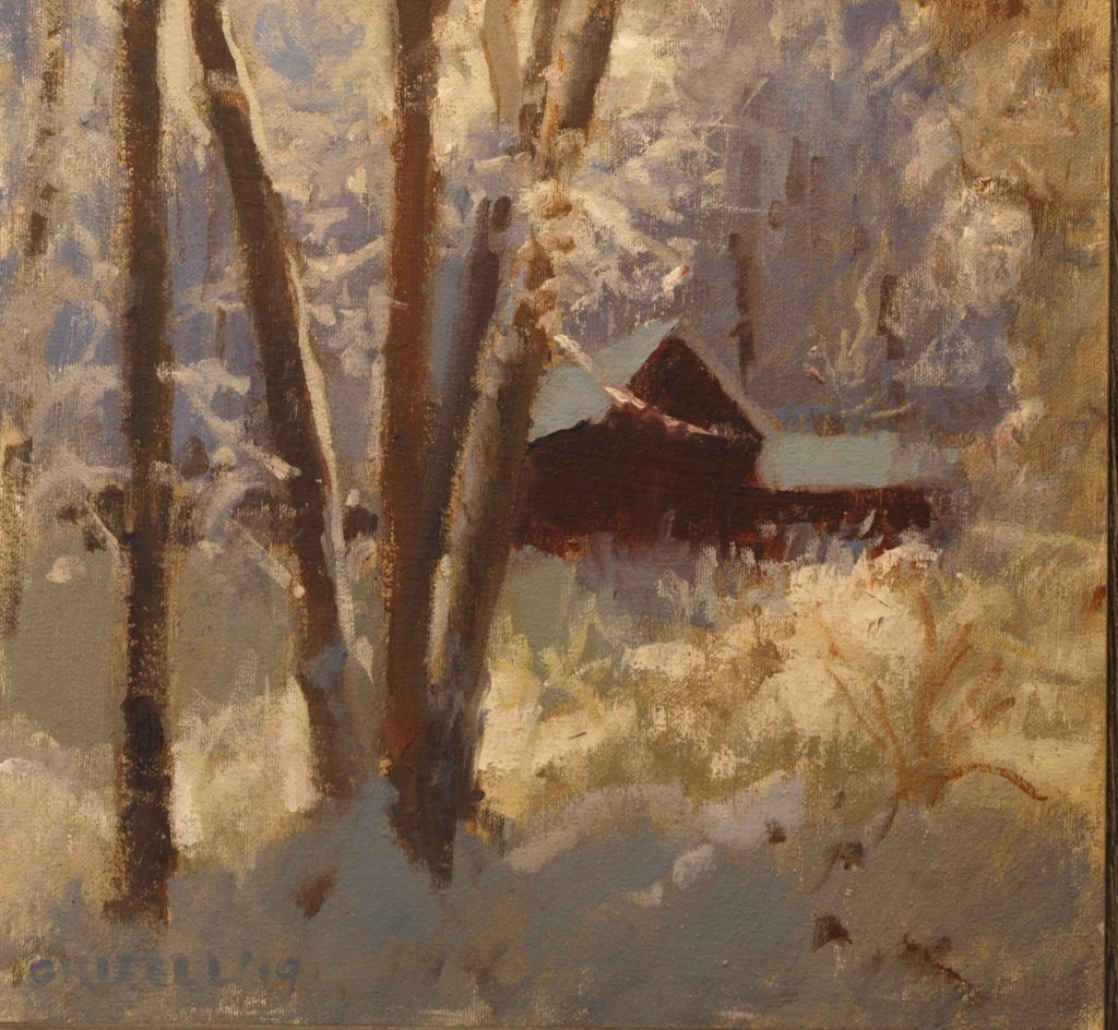 Clinging Snow, Oil on Canvas on Panel, 12 x 12 Inches, by Susan Grisell, $300