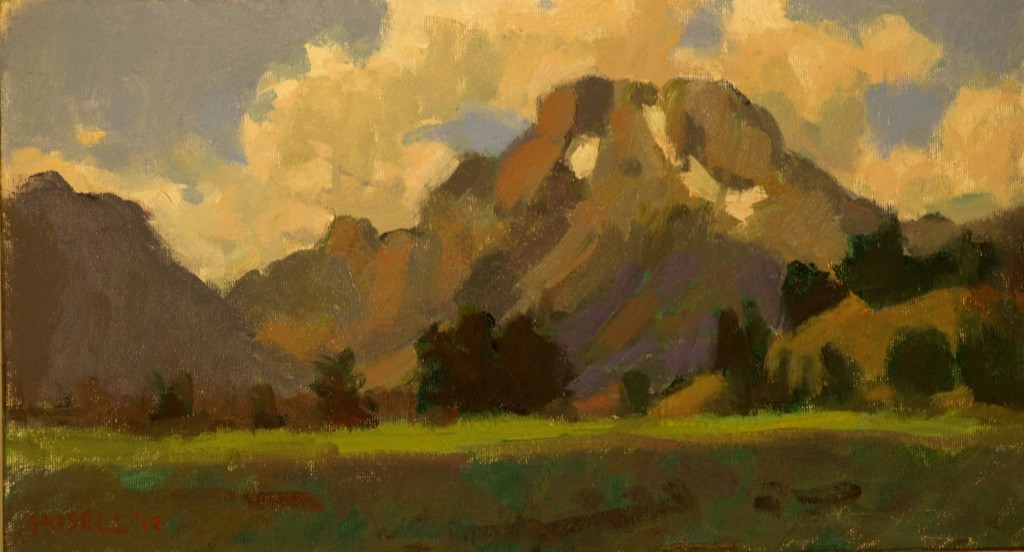 Clouds -- Mt Moran, Oil on Canvas on Panel, 9 x 16 Inches, by Susan Grisell, $250