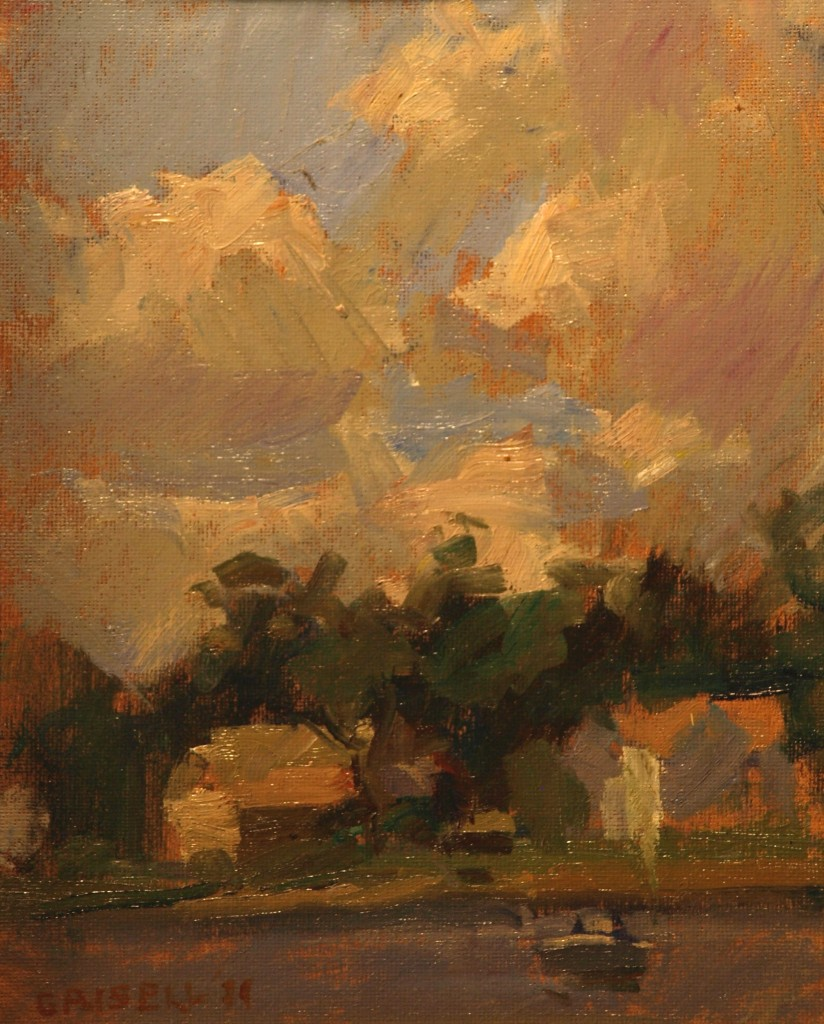 Clouds - Rowayton, Oil on Canvas on Panel, 10 x 8 Inches, by Susan Grisell, $150