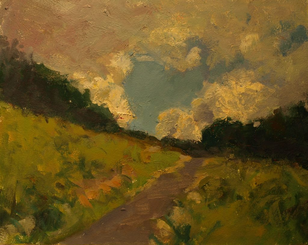 Clouds Above the Hill, Oil on Canvas on Panel, 11 x 14 Inches, by Susan Grisell, $300