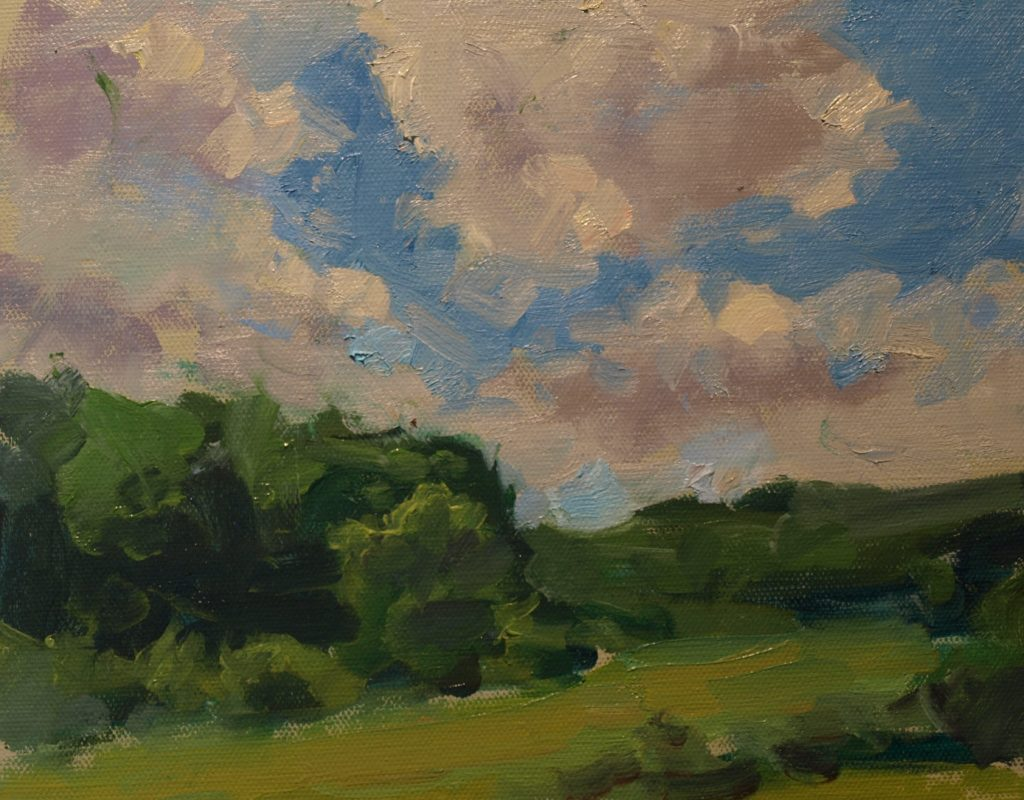 Clouds and Field in June, Oil on Canvas on Panel, 8 x 10 Inches, by Susan Grisell, $200