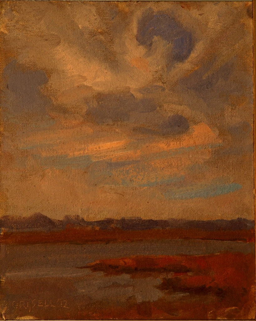 Clouds over Plum Island, Oil on Canvas on Panel, 10 x 8 Inches, by Susan Grisell, $150