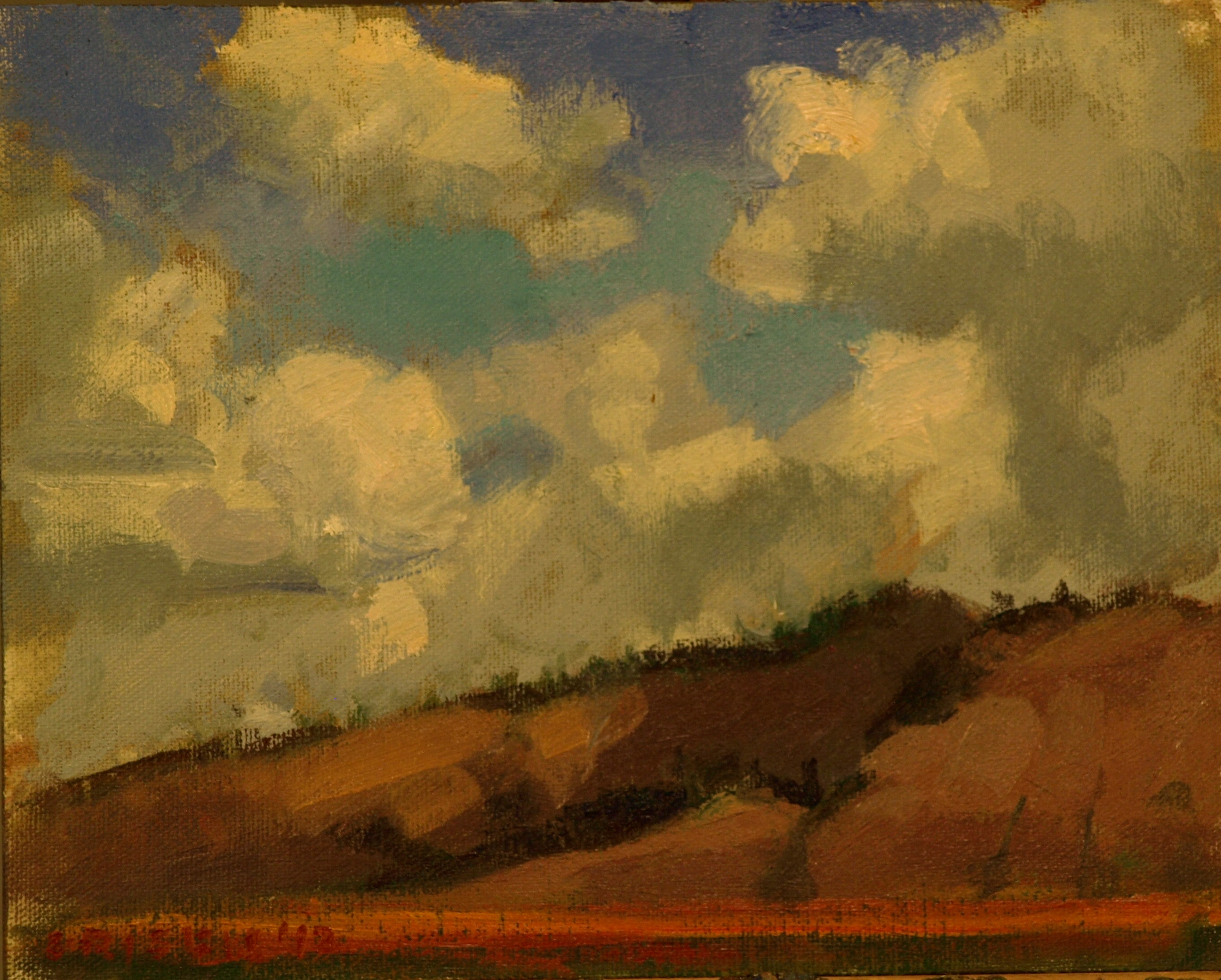 Clouds -- Wyoming, Oil on Canvas on Panel, 8 x 10 Inches, by Susan Grisell, $150