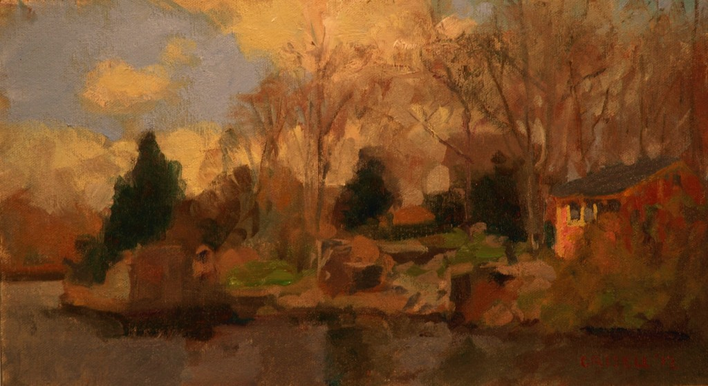 Clouds - Tiverton, Oil on Canvas on Panel, 9 x 16 Inches, by Susan Grisell, $250