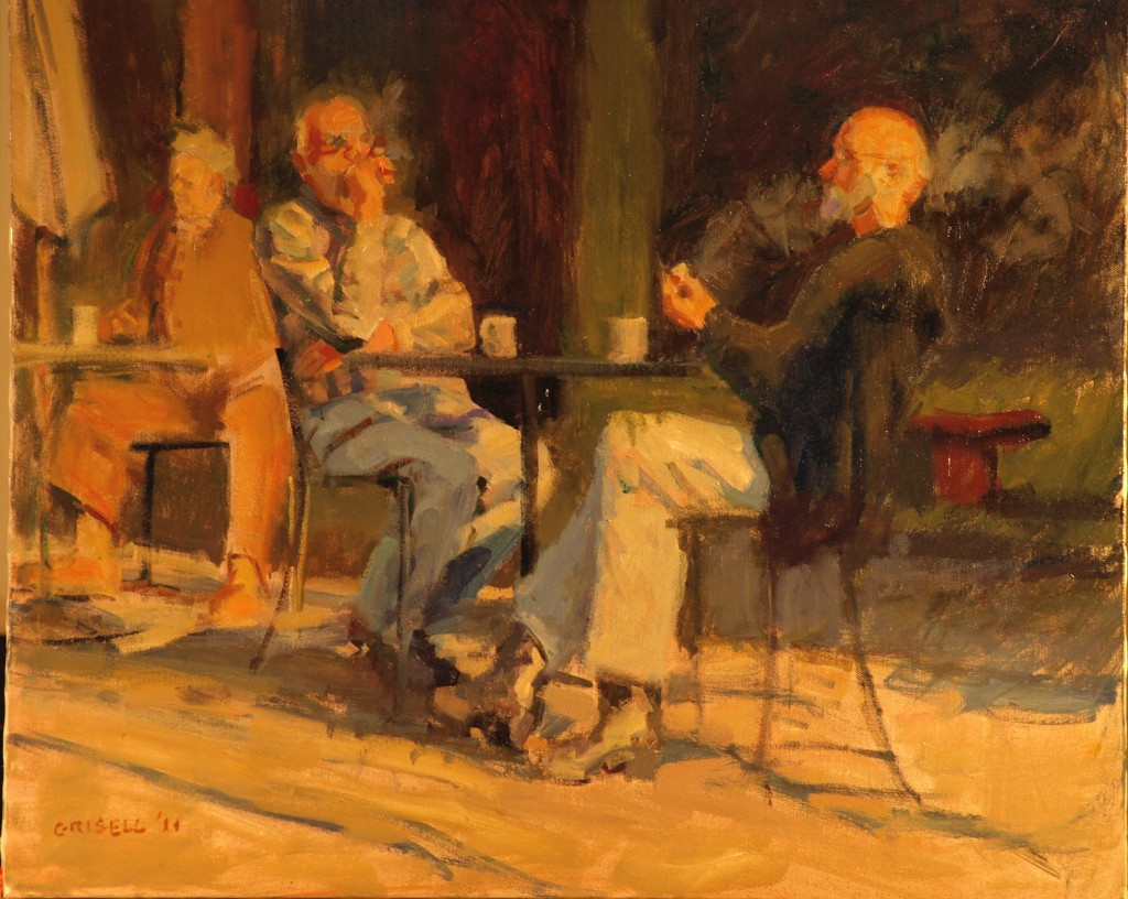 Coffee and Cigars, Oil on Canvas, 20 x 24 Inches, by Susan Grisell, $650