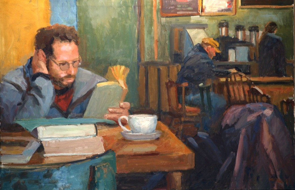 Coffee House, Oil on Canvas, 24 x 36 Inches, by Susan Grisell, $1200