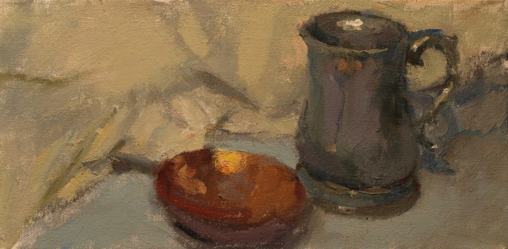 Copper, Pewter and White Cloth, Oil on Canvas, 7 x 14 inches, by Susan Grisell, $225