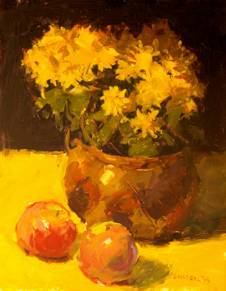 Copper Pot and Yellow Mums, Oil on Panel, 14 x 11 Inches, by Susan Grisell, $275