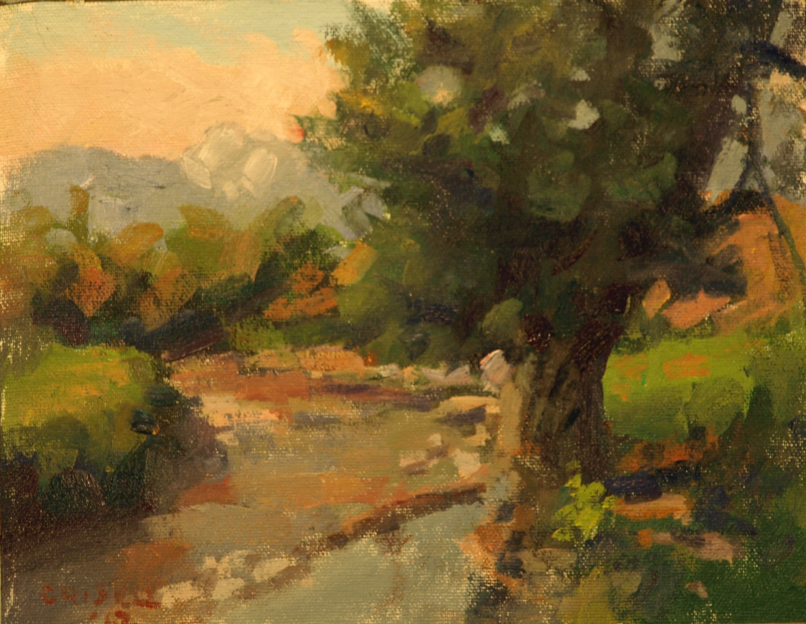 Cottonwood, Oil on Canvas on Panel, 8 x 10 Inches, by Susan Grisell, $150