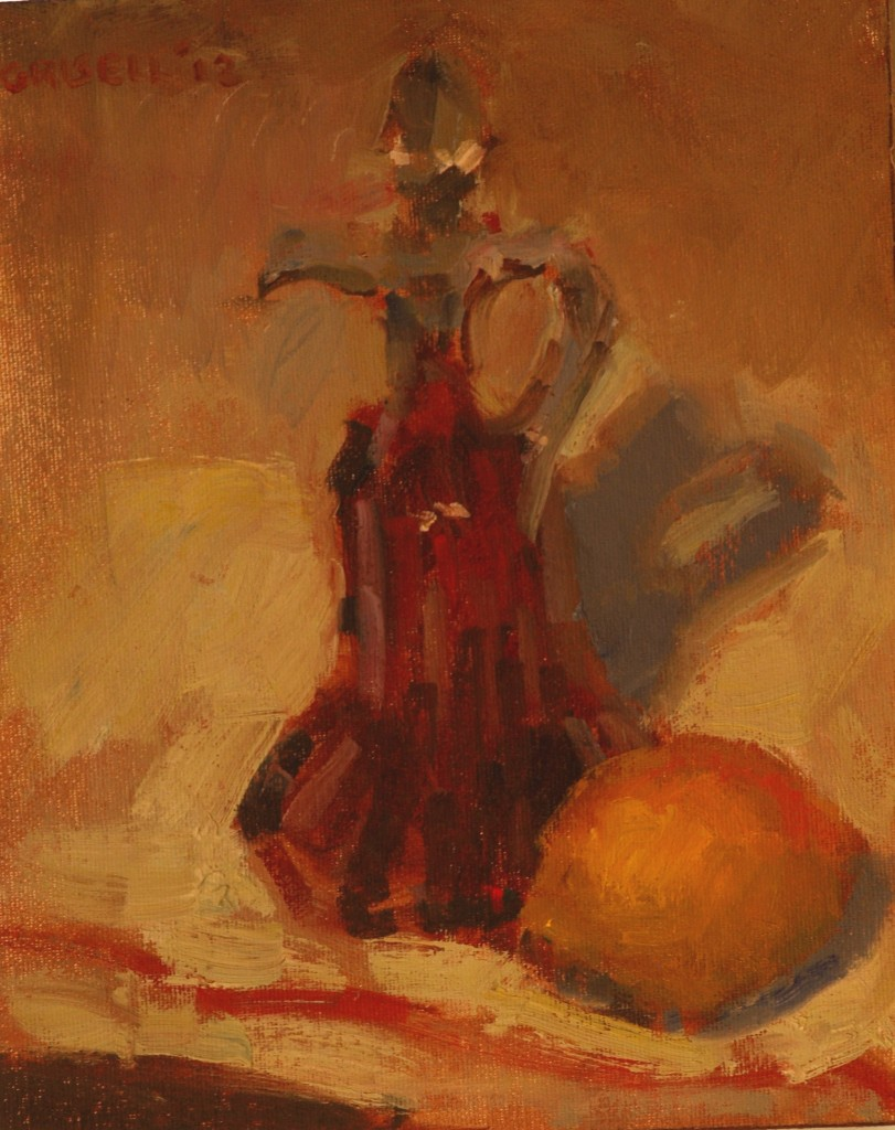 Cruet and Lemon, Oil on Canvas on Panel, 10 x 8 Inches, by Susan Grisell, $150