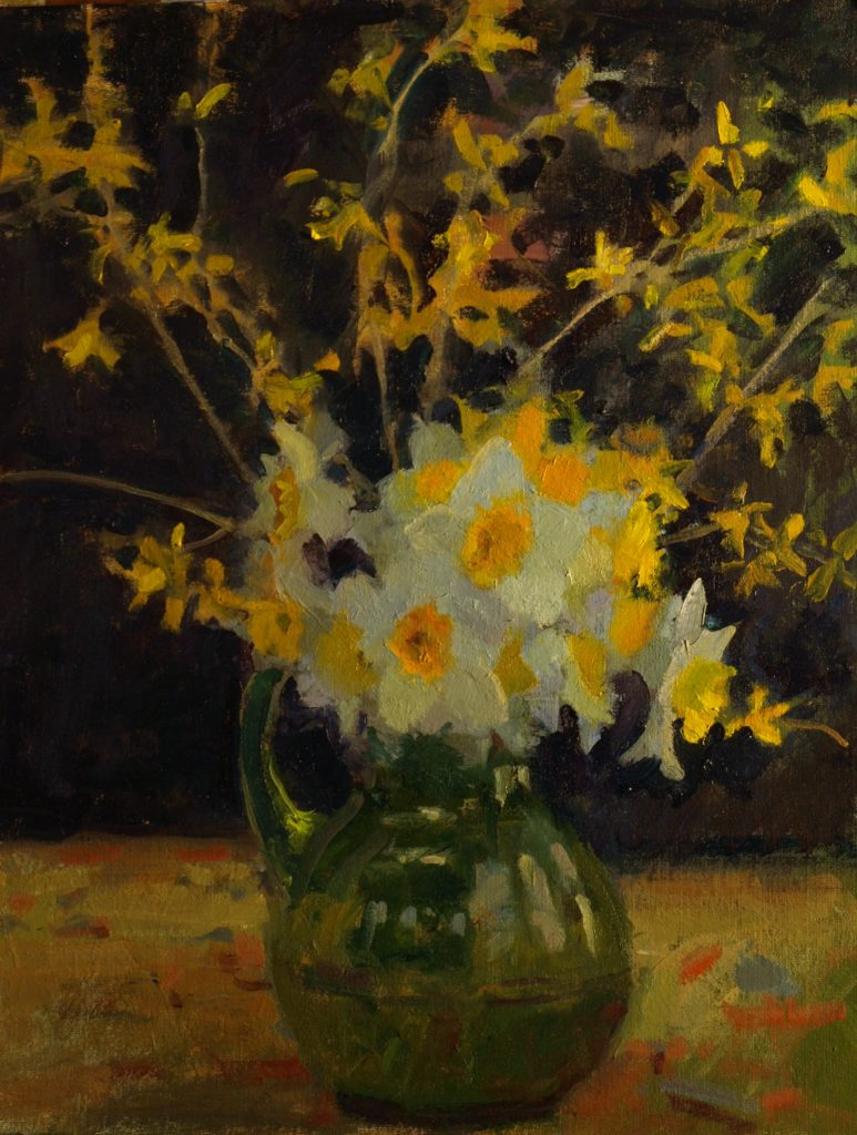 Daffodils and Forsythia, Oil on Canvas on Panel, 20 x 16 Inches, by Susan Grisell, $750