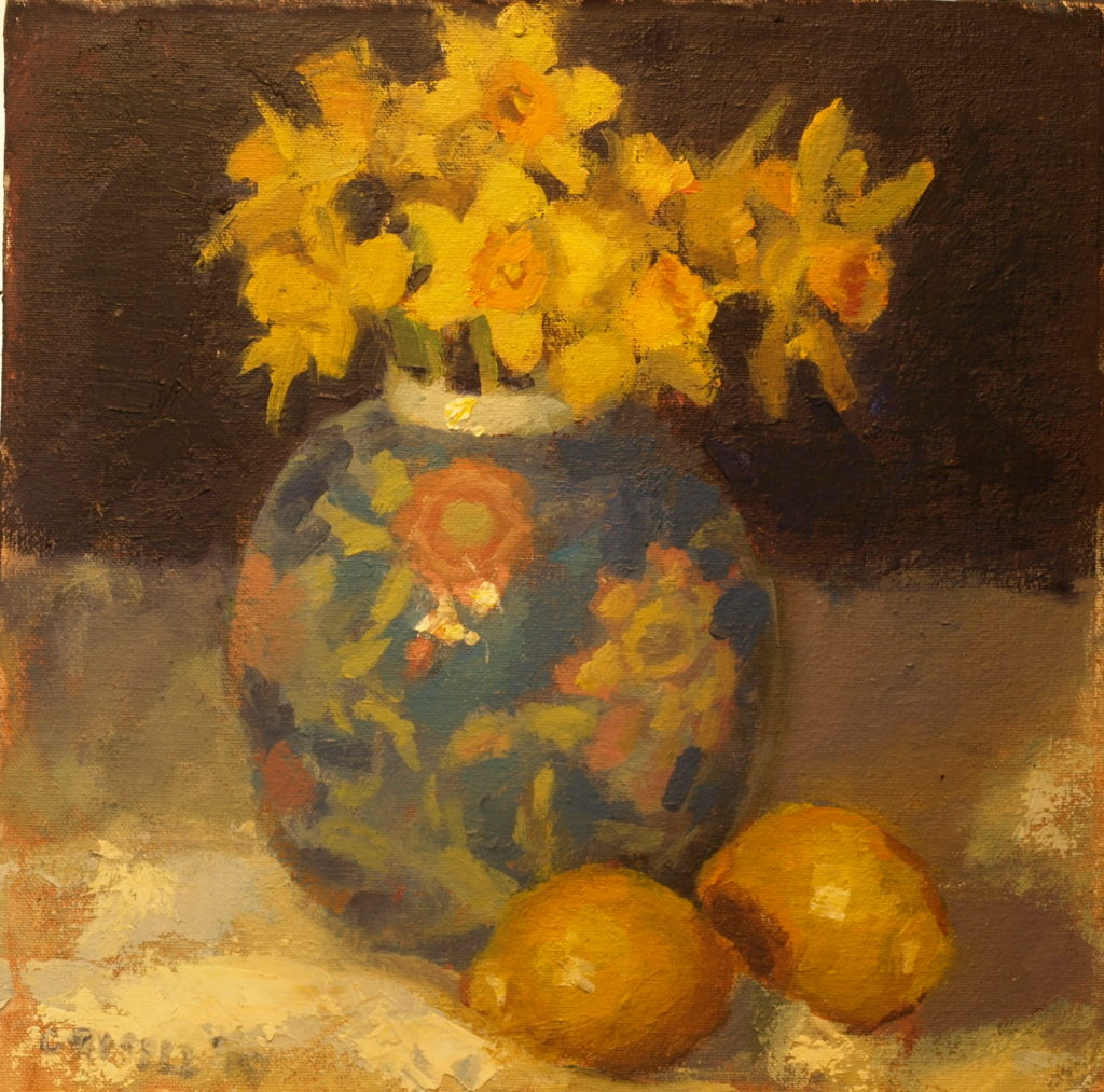 Daffodils and Ginger Jar, Oil on Canvas on Panel, 12 x 12 Inches, by Susan Grisell, $275